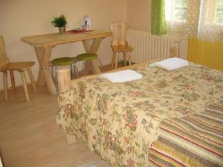 Double bedroom with double bed and bathroom with shower