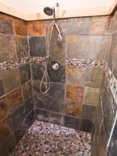 Beautiful Slate and Pebble Shower