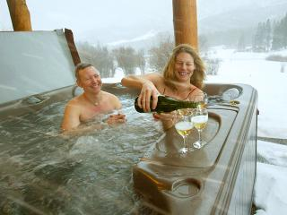 blizzard hot tub - fun in any weather - you can be sipping wine in our hot tub 5 min off the slopes