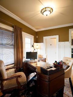 Office on main floor with adjoining powder room (1/2 bath)