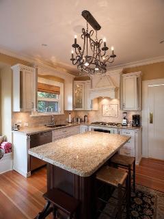 Kitchen island with granite countertop