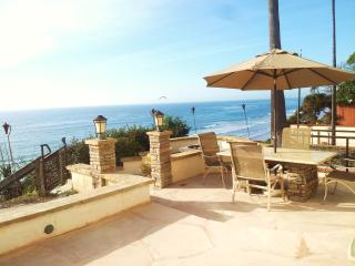 Your oceanfront patio. Not seen are the chaise lounge chairs, firepit behind dining table