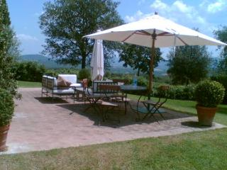 The patio with uninterrupted views over the vineyard