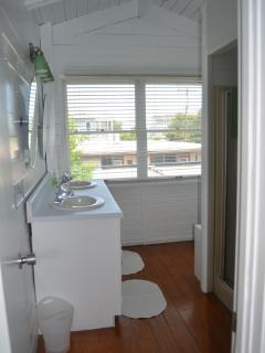 Bathroom #2 upstairs Double Sinks, large changing area and shower
