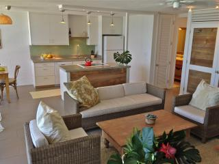 Open living, kitchen and dinning at Naholokai at Poipu in Hawaii