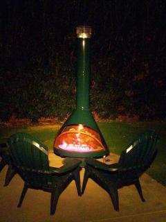 Outdoor fireplace -- perfect for after dinner