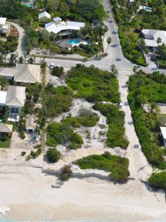 Aerial view of path to the beach from Pelican's corner garden gate