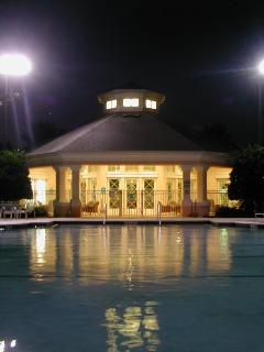 Resort Clubhouse and Pool at Dusk
