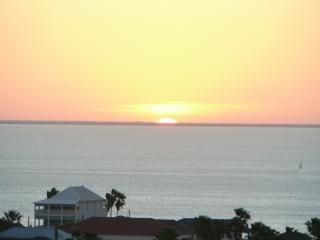 Sunset over the Laguna Madre Bay visible from the second bedroom or the walkway