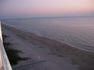View of the beach from the private balcony facing north