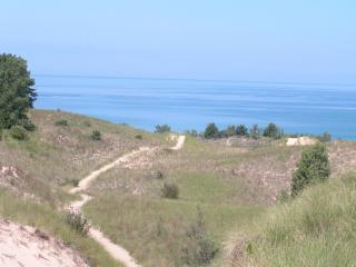 Path to beach with lake.JPG