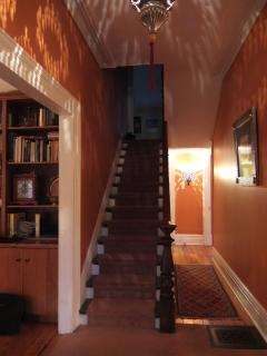 In the front door up to bedrooms, right to dining & living rooms, left to library & ahead to kitchen