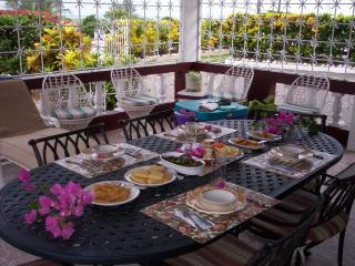 Jamaican Cuisine,served on the patio.