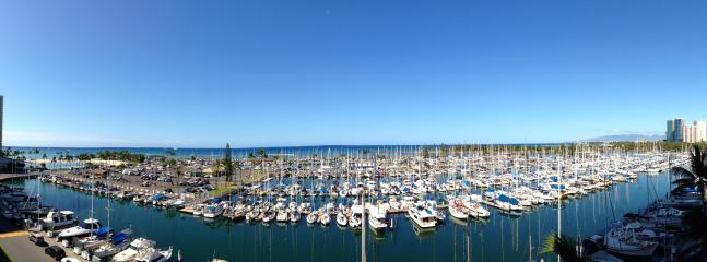 Panarama of the Waikiki Yacht Harbor from Ilikai Marina