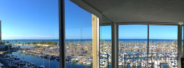 View From inside 'Pure Paradise' of the Waikiki Yacht Harbor and Ocean