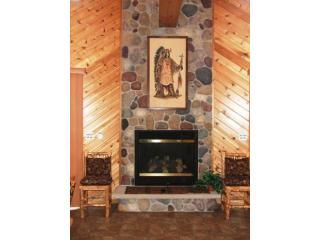 Warm yourself next to our stone fireplace