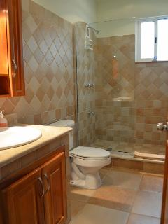 Beautiful tile and glass second full bathroom is shared by bedrooms 2 and 3.