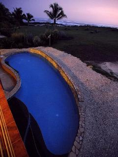 Pool at Dusk from second balcony