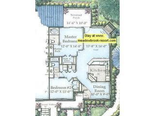 2 bedroom, 2 bathroom floor plan Meadow Brook Resort. Branson, Missouri
