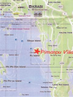 Map showing Piman Pu villa's location on Koh Pu