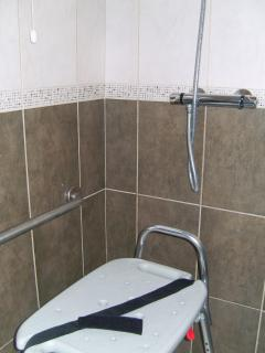 Portable Transfer Bench available for use in shower for easier access of shower knobs and showerhead