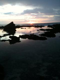 Tide pools out front at sunset