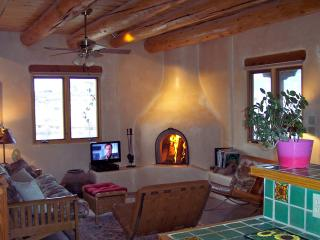 The living area with its hand sculpted fireplace