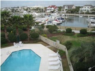 View from condo of the Yachts and Sailboats at the Isle of Palms marina.