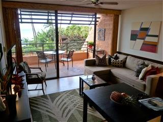 Living room overlooks lush gardens & the ocean