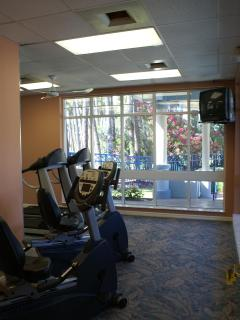 One of two fitness facilities with cardio equipment and tv overlooking pool area.