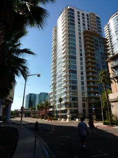 View of Seaside Way Tower. 22 Stories tall. My unit is on the second floor facing North and West