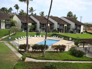 Lowrise condos are arranged around perimeter of complex, with tropical gardens and pools in the cent