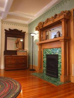 FIREPLACE in Second Bedroom, HIGH COFFERED CEILINGS Original Heart Pine Wood Floor