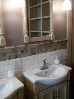 Master Bath with TWIN VANITIES, Heated Porcelain Tile Floor, Subway Tile Walls