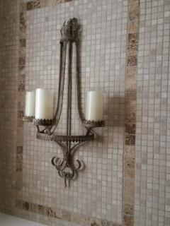 CANDLE SCONCE on tumbled travertine wall - enjoy a romantic SPA EXPERIENCE in the DEEP SOAKING TUB