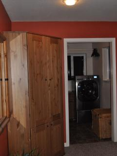 Laundry room, top of the line washer & dryer, workout area with tapes, bands, bosu & balance ball