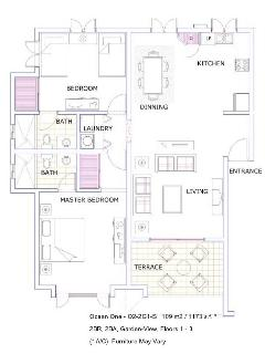 Floor Plan Of 2BR/2BA Unit In Ocean One, Phase III