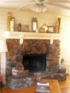 Real river stone fireplace