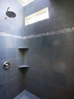10' slate shower with skylight - and large rain shower head.
