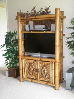 Entertainment center with Large screen LCD TV, DVD player, stereo, etc