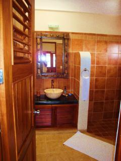 One of the guest bathrooms - fully tiled - spacious