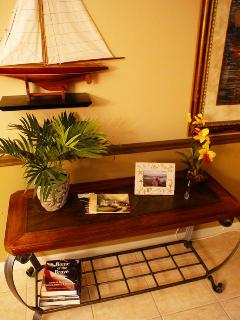 Condo unit is furnished with a nautical theme. All the comforts of home.
