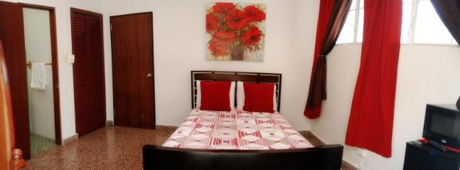 WIDE VIEW OF REDDISH ROOM - WITH FULL BED ONLY