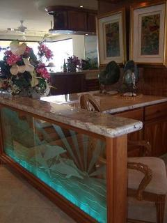 art glass near granite top computer station 2009.JPG