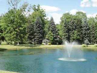 The entrance fountain and lake at the front gate.  Over 100 miles of paved roads await inside!