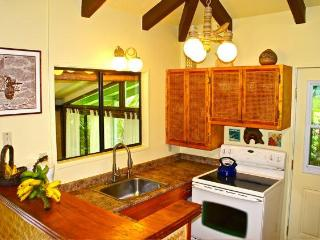 full kitchen and washer dryer outside