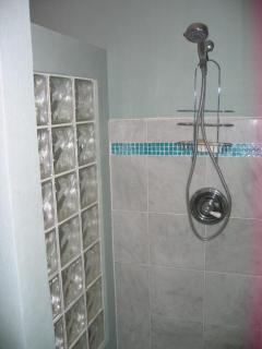 Shower w tile glass tile accents