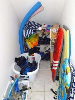 The 'Toy Box' - snorkel gear, floats, boogie boards, mats, umbrellas, etc