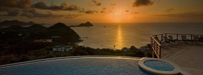 Sunset from the living room with views to the Caribbean Sea
