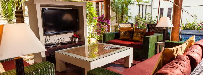 Tropical style open plan living area
